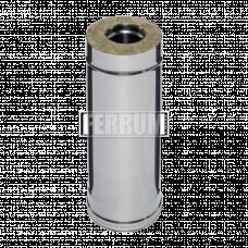 Дымоход Феррум утепленный нержавеющий (430/0,5мм)/зеркальный нержавеющий ф115/200 L=0,5м
