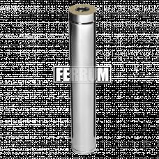 Дымоход Феррум утепленный нержавеющий (430/0,5мм)/зеркальный нержавеющий ф115/200 L=1м