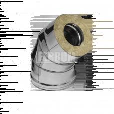 Колено Феррум утепленное угол 135° нержавеющее (430/0,5мм)/зеркальное, ф115/200, по воде